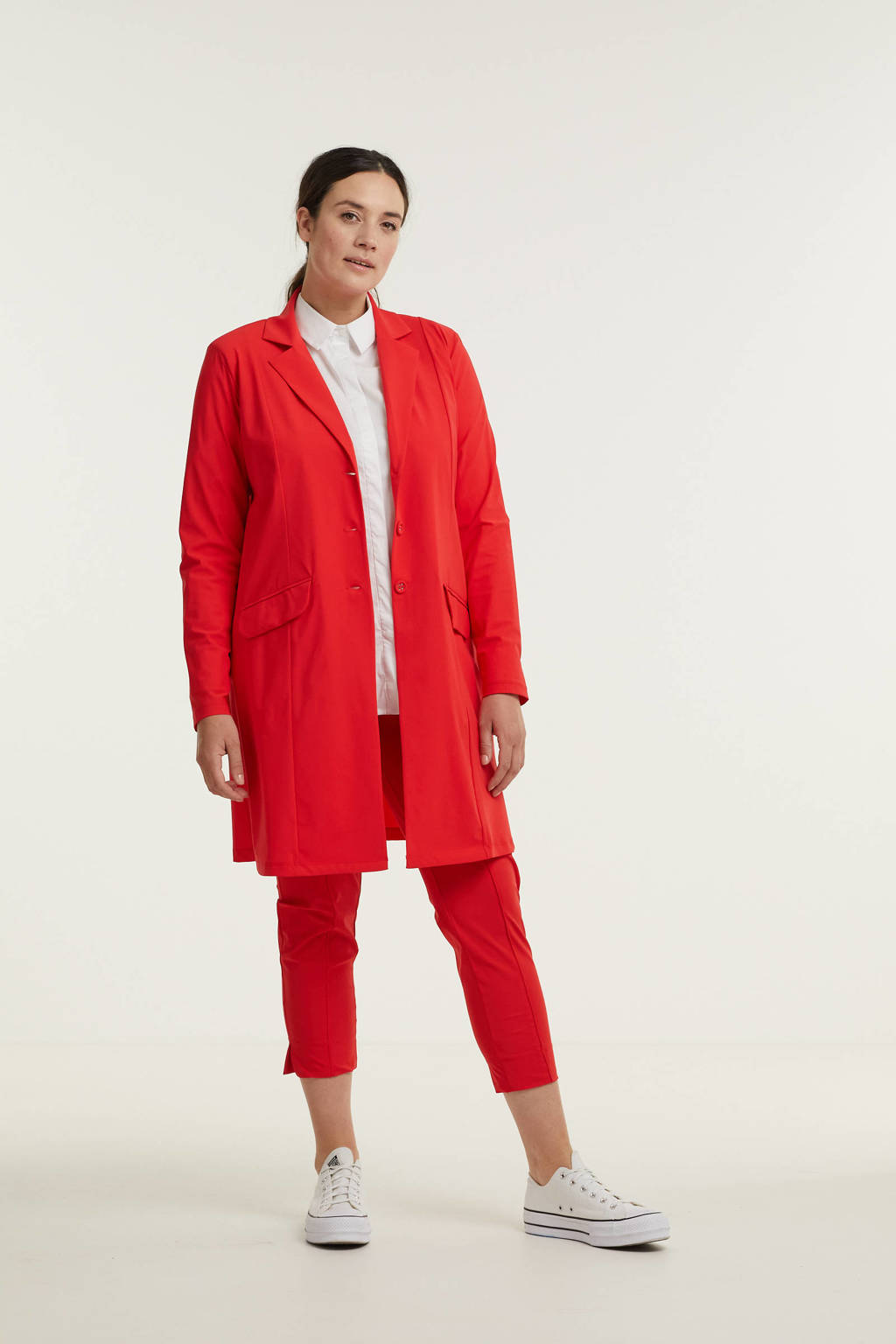 Plus Basics blazer van travelstof rood, Rood