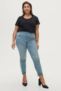 Ellos high waist skinny tregging LOTTIE met slijtage light denim, Light denim