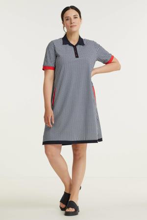 geruite jurk van travelstof donkerblauw/wit/rood