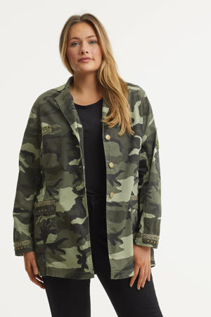 jasje met camouflageprint en borduursels donkergroen/lichtgroen/zwart