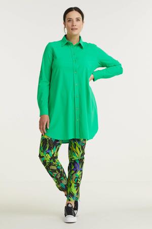slim fit broek van travelstof met bladprint zwart/groen/paars