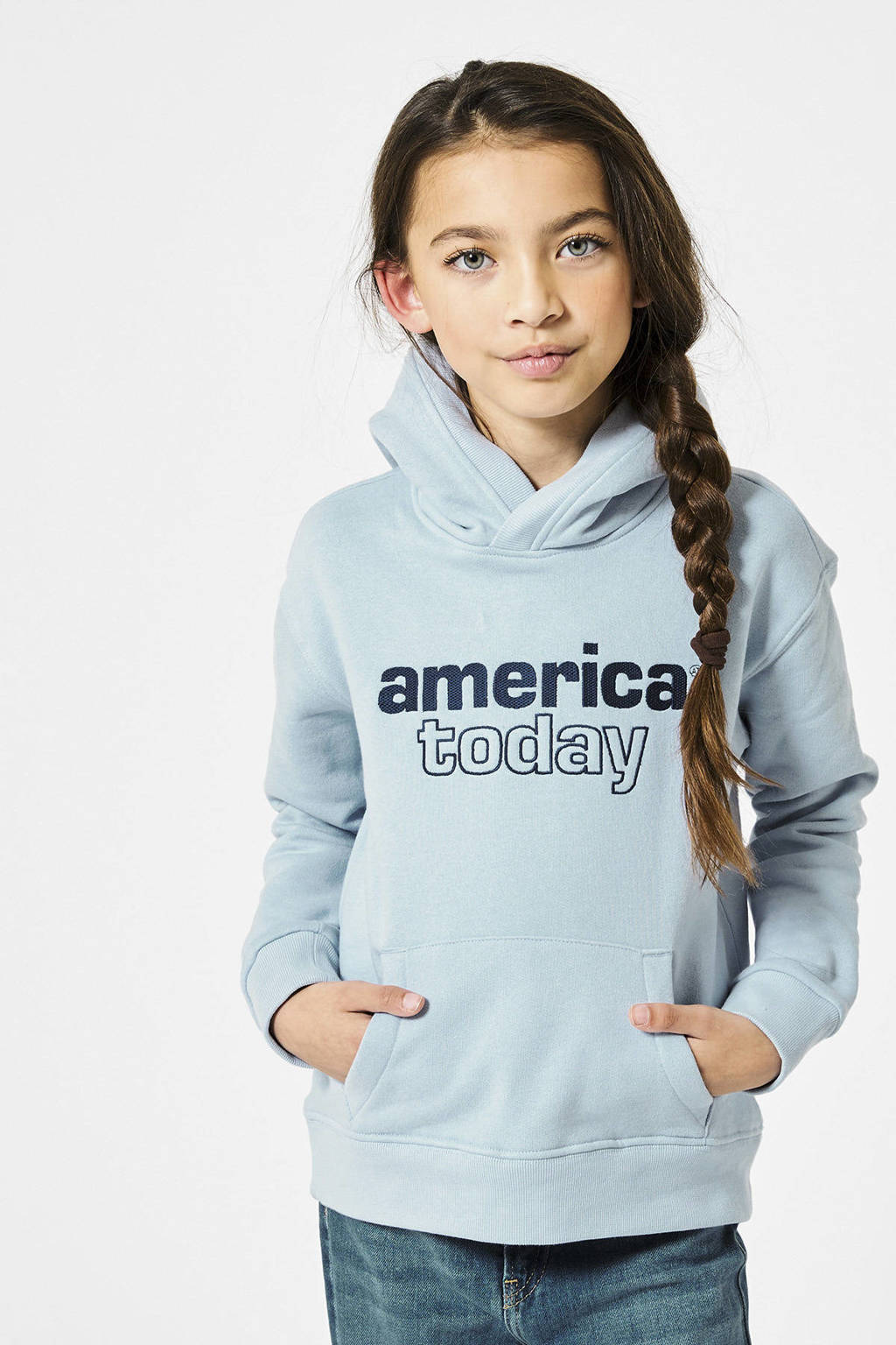 America Today Junior hoodie Sora met tekst lichtblauw, Lichtblauw