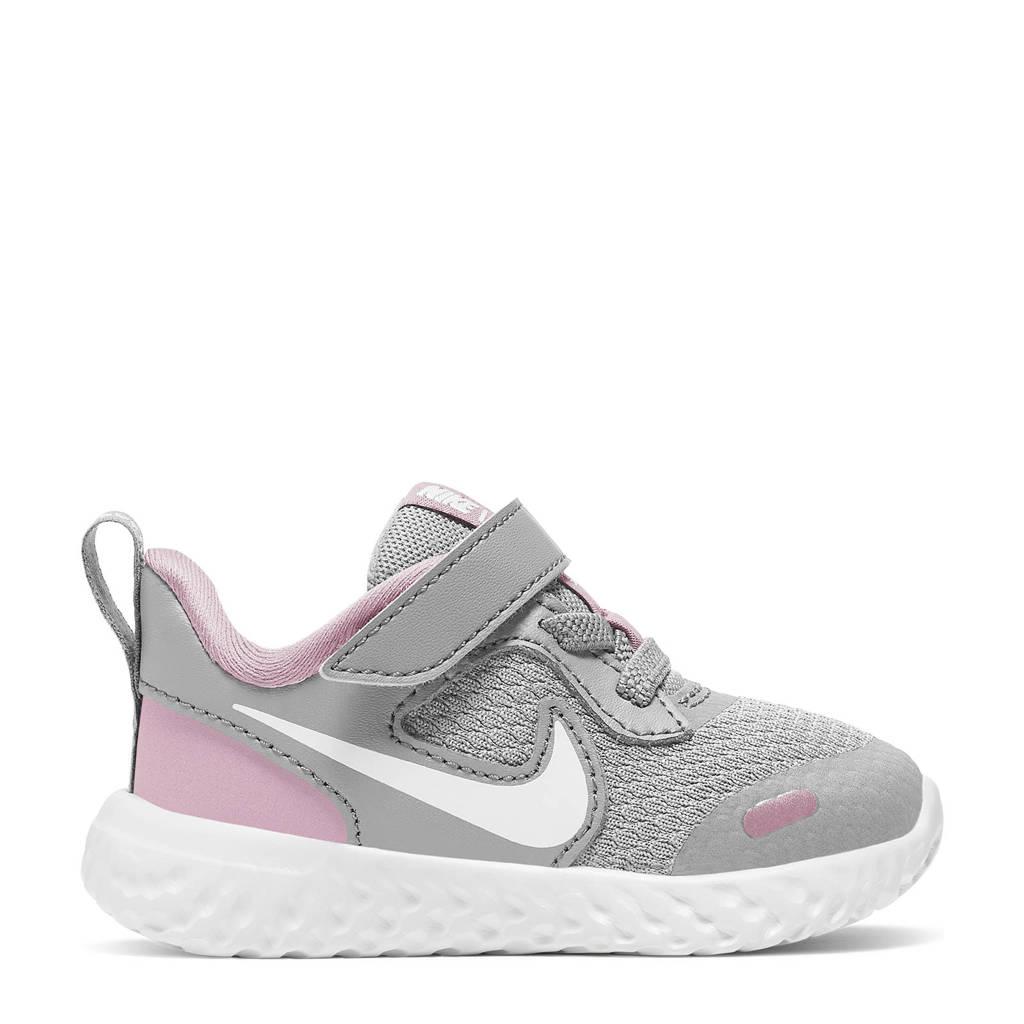Nike Revolution 5 (TDV) leren sneakers grijs/roze, Grijs/roze