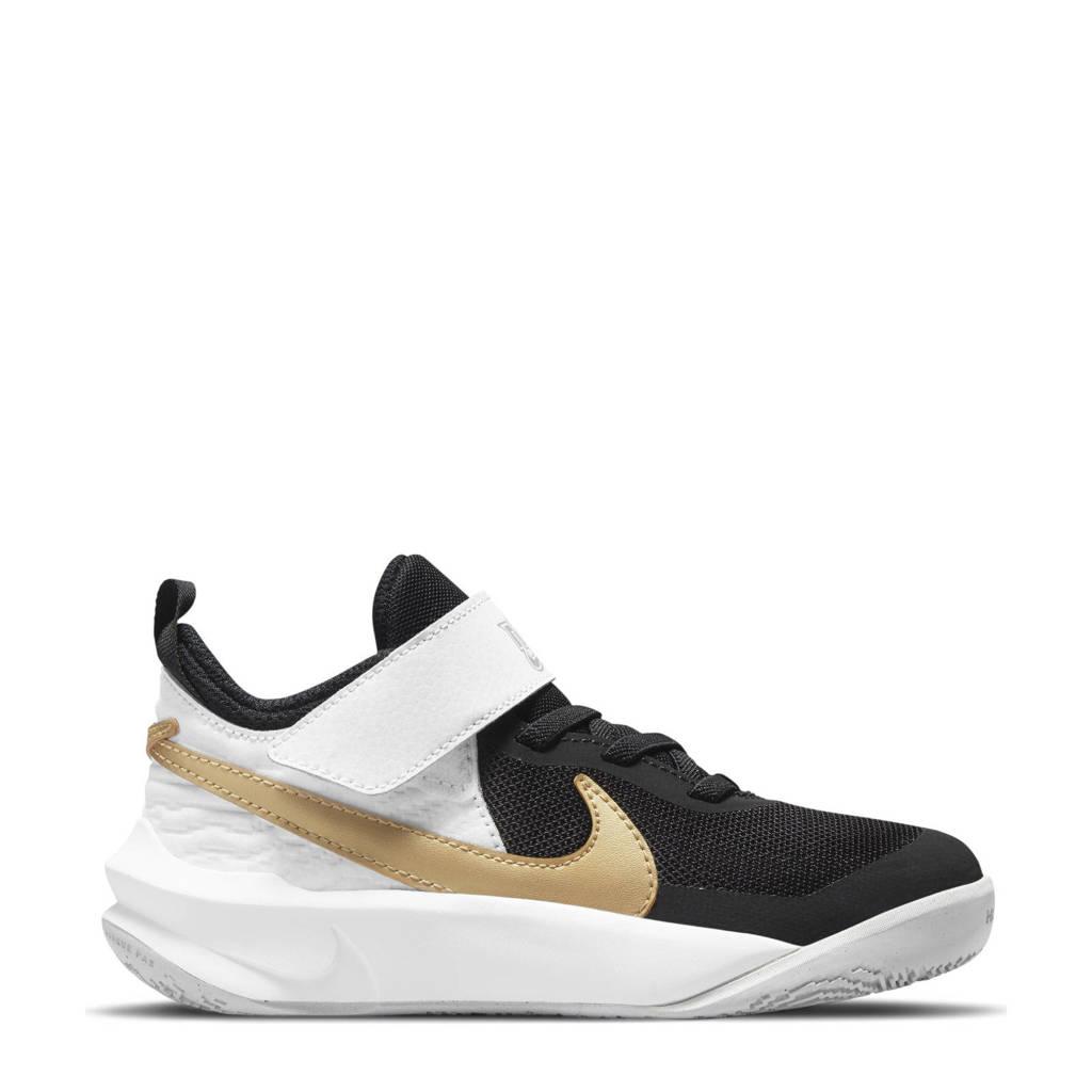 Nike Team Hustle D 10 sneakers zwart/metallic goud/wit, mesh-PU/voering: mesh/voetbed: EVA