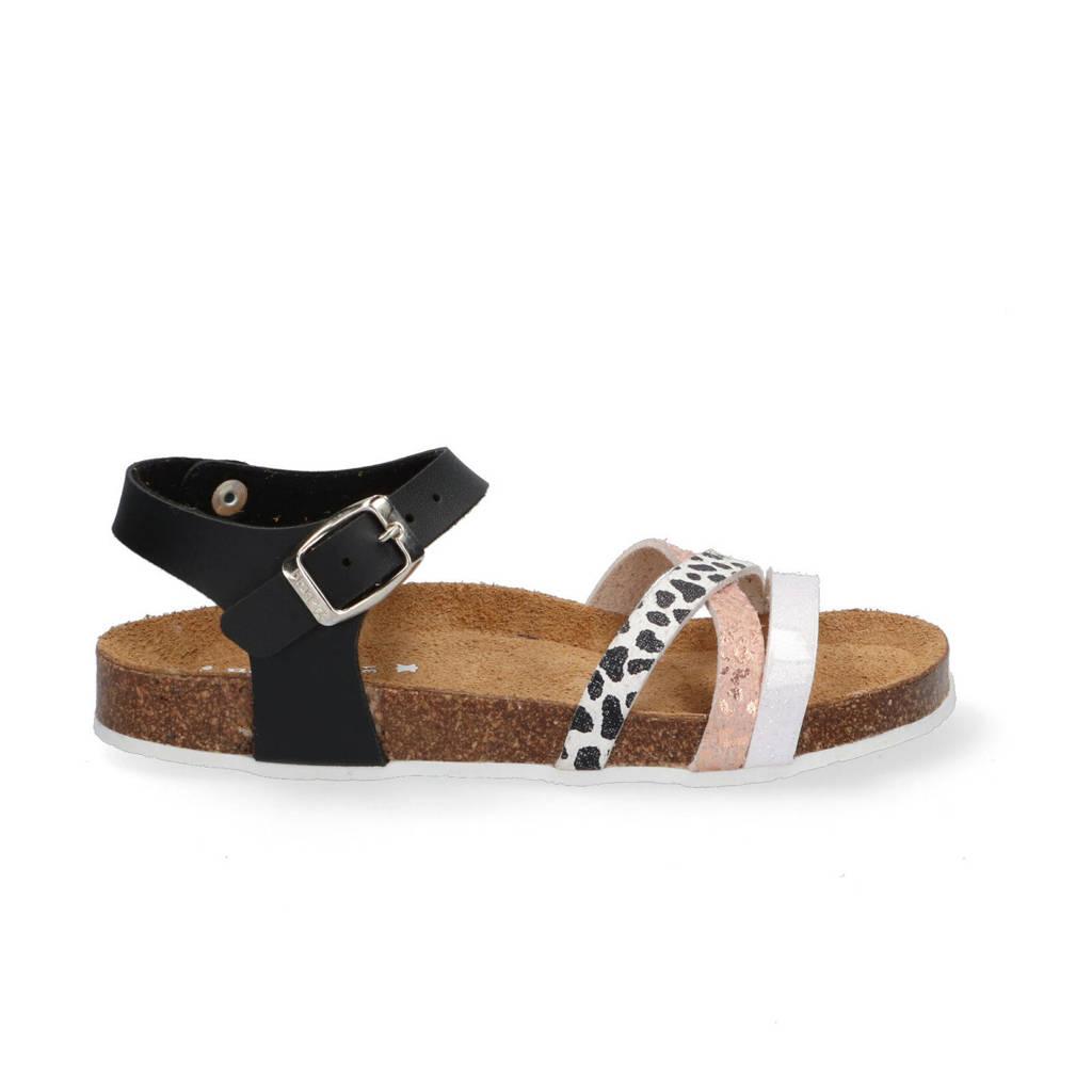 Braqeez Saar Spain  leren sandalen zwart/multi, Zwart/multi