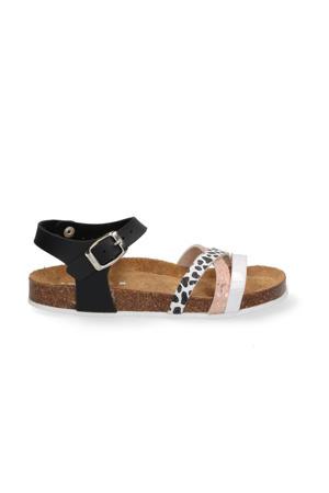 Saar Spain  leren sandalen zwart/multi