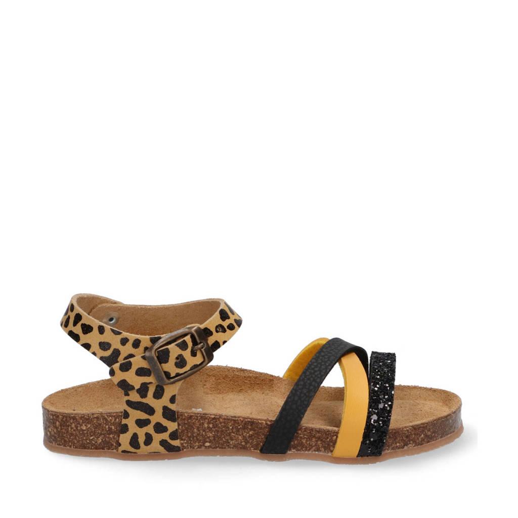 Braqeez Saar Spain  leren sandalen bruin/multi, Bruin/multi