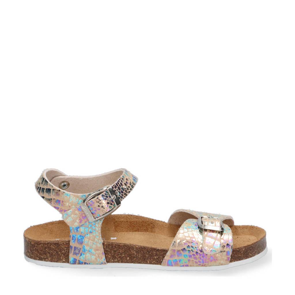 Braqeez Sally Spain  leren sandalen met crocoprint metallic, goud/metallic