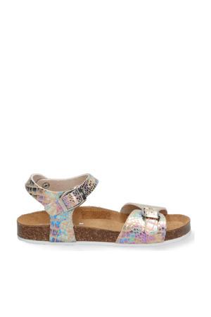 Sally Spain  leren sandalen met crocoprint metallic