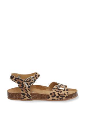 Sally Spain  leren sandalen met panterprint bruin