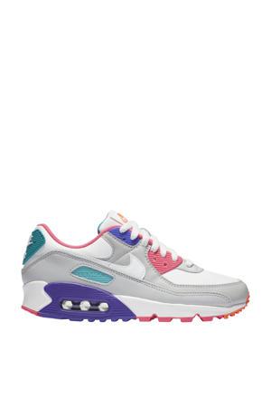 Air Max 90 sneakers lichtgrijs/wit/blauw/koraal