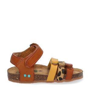 Babs Beach  leren sandalen met panterprint cognac