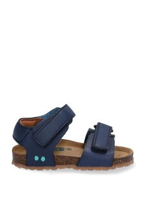 Bas Beach  leren sandalen blauw