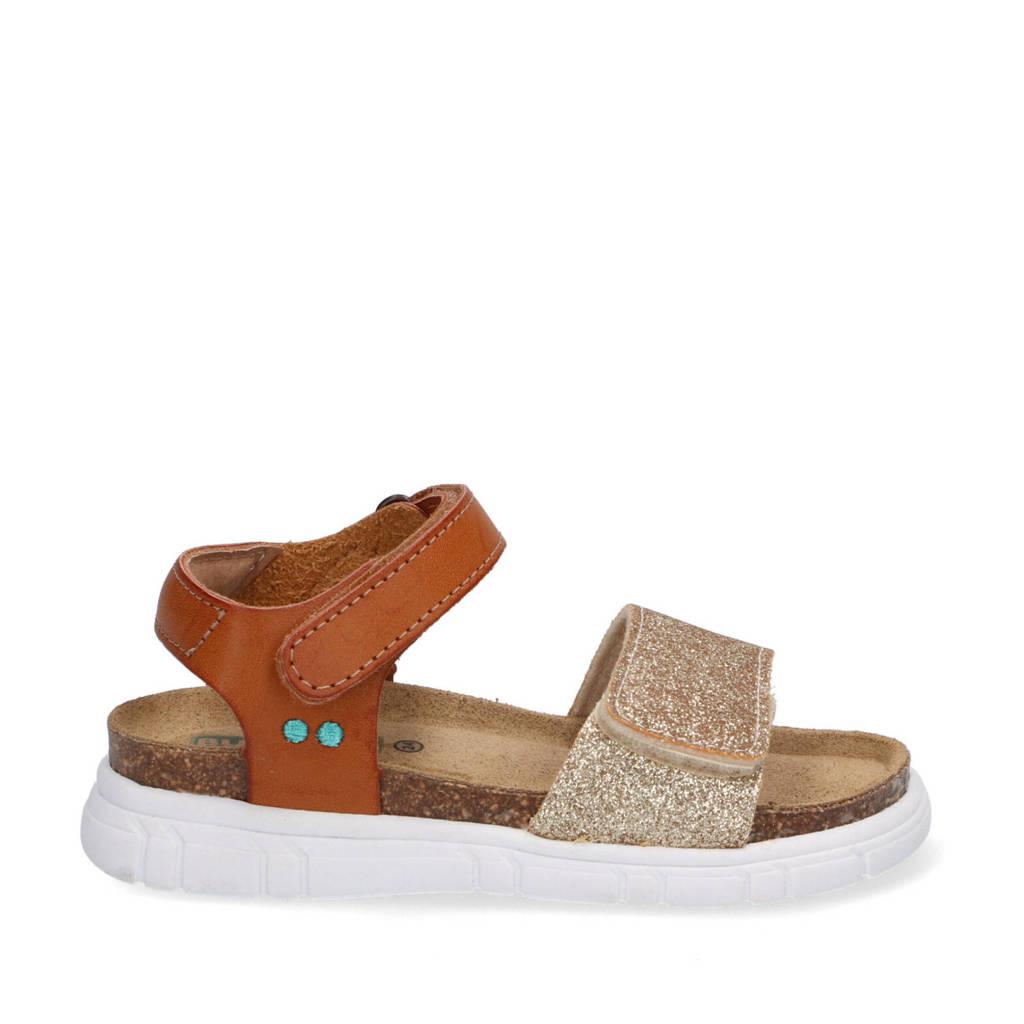 Bunnies Bregje Beach  leren sandalen met glitters cognac/goud, Cognac/Goud