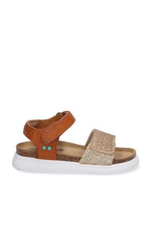 Bregje Beach  leren sandalen met glitters cognac/goud