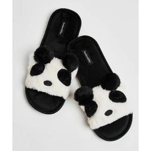 huisslippers Panda van imitatiebont zwart/wit