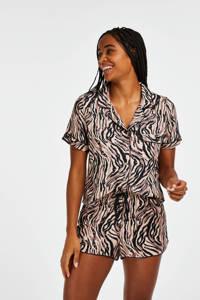 Hunkemöller pyjamashort met zebraprint beige/zwart, Beige/zwart