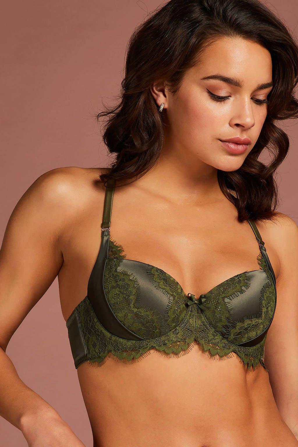 Hunkemöller Noir voorgevormde beugelbh Hannako groen, Groen