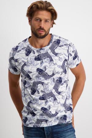 T-shirt FISH van biologisch katoen blauw/wit
