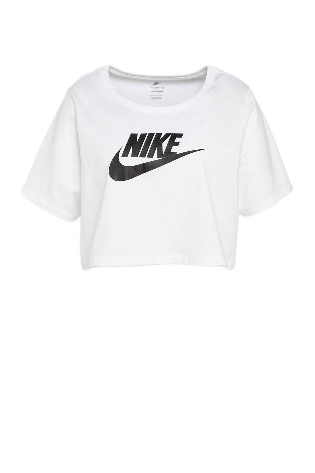 Nike Plus Size cropped T-shirt wit/zwart, Wit/zwart