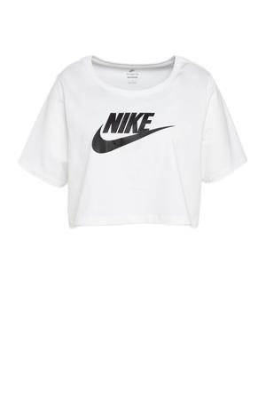 Plus Size cropped T-shirt wit/zwart