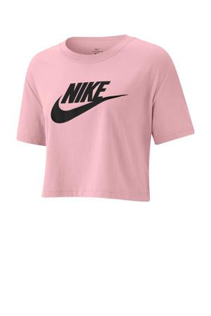 T-shirt met logo roze/zwart