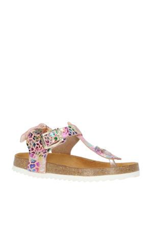 48192  leren sandalen met panterprint roze