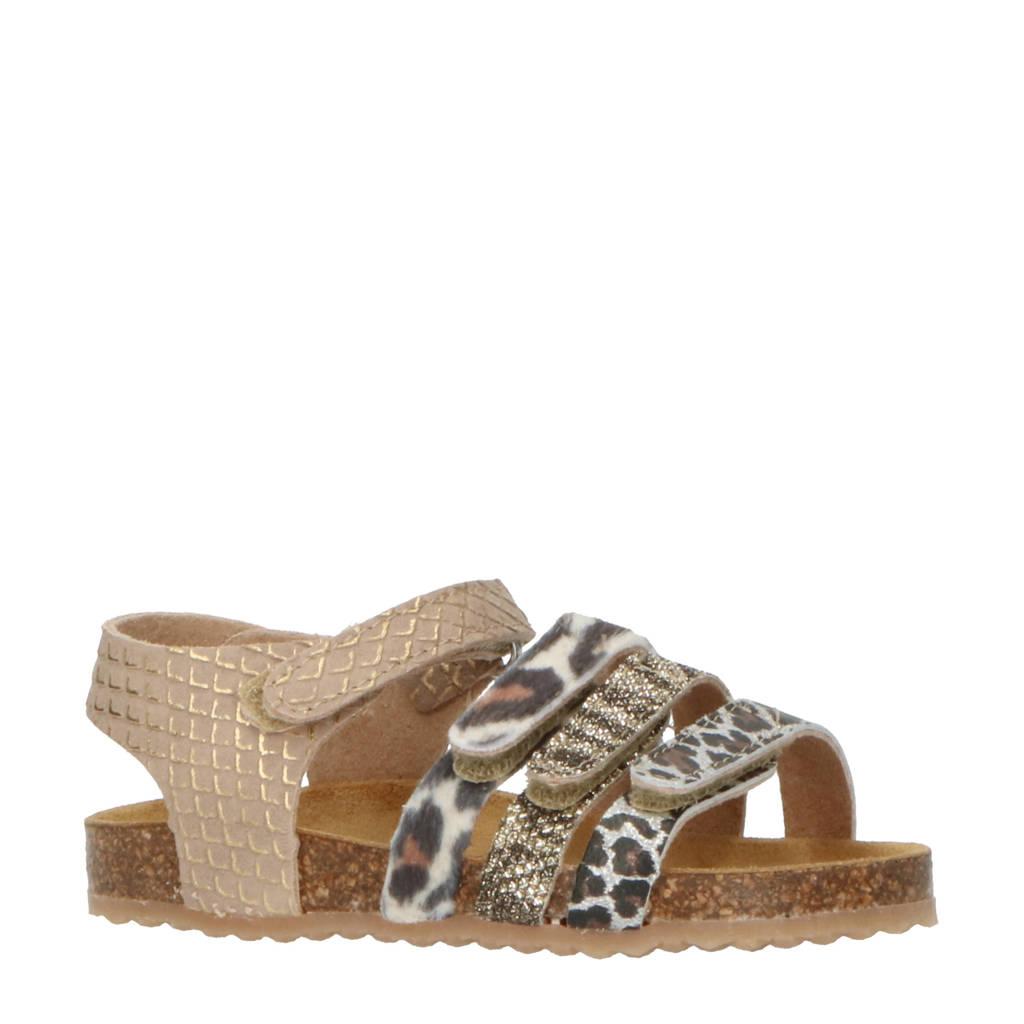 Develab 48230  leren sandalen met dierenprint goud, Goud
