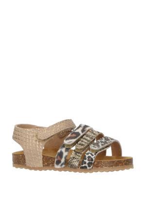 48230  leren sandalen met dierenprint goud