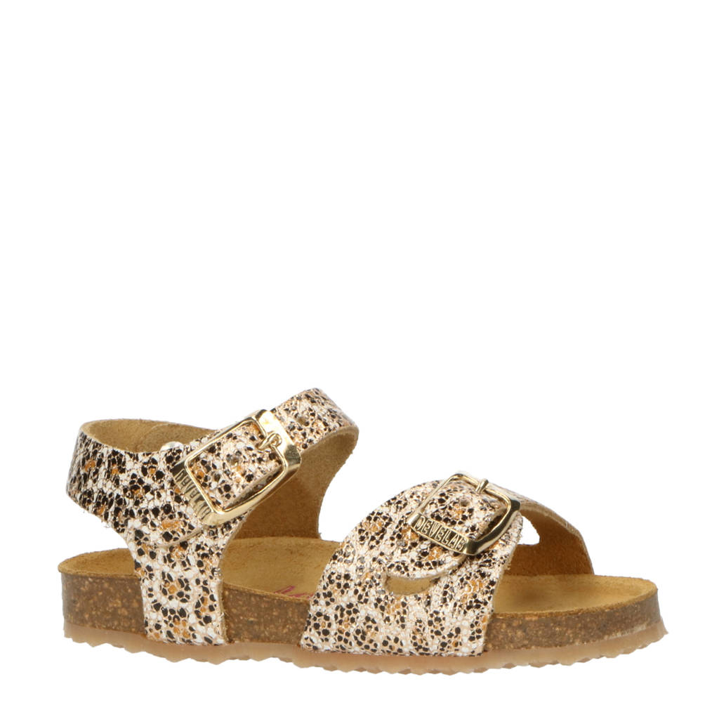 Develab 48224  leren sandalen met panterprint goud, goud/multi