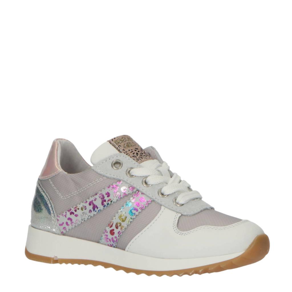Develab 42586  leren sneakers wit/multi, Wit/multi