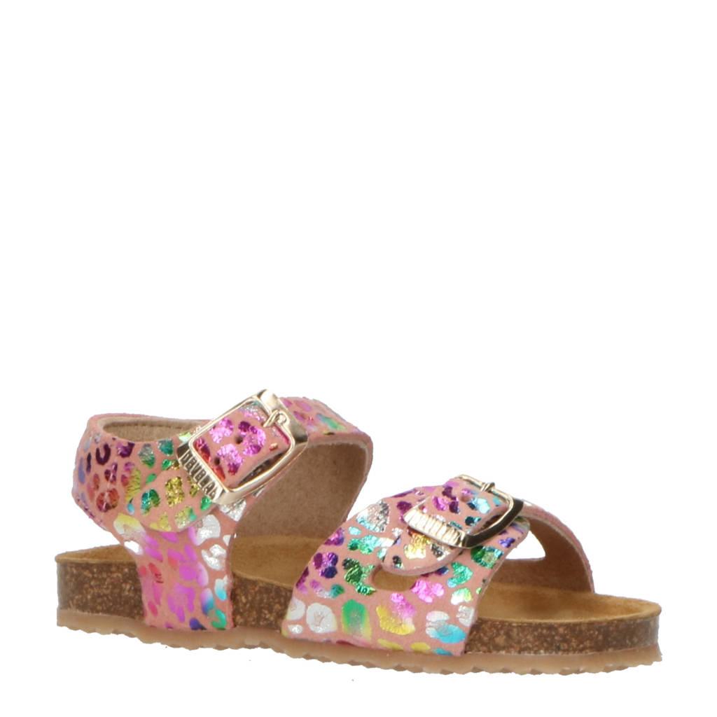 Develab 48272  leren sandalen met panterprint roze/metallic, Roze/metallic