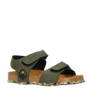 48163  leren sandalen kaki