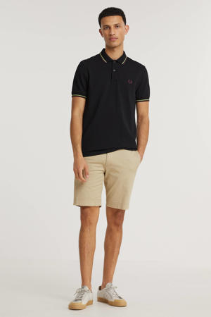 regular fit polo Twin tipped met contrastbies zwart/lime