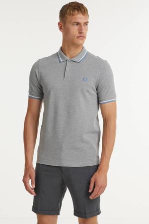 regular fit polo Twin tipped met contrastbies grijs