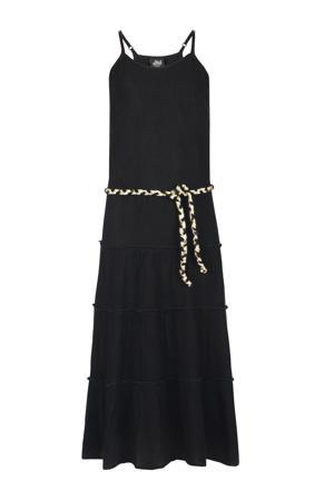 halter maxi jurk Farida met plooien zwart