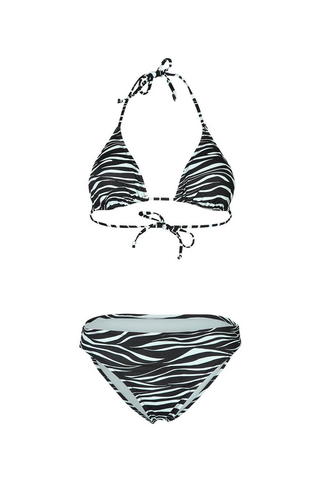 Brunotti triangel bikini Lollypop met zebraprint zwart/lichtblauw, Zwart/lichtblauw