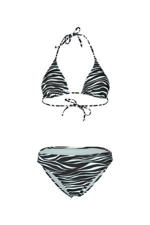 triangel bikini Lollypop met zebraprint zwart/lichtblauw