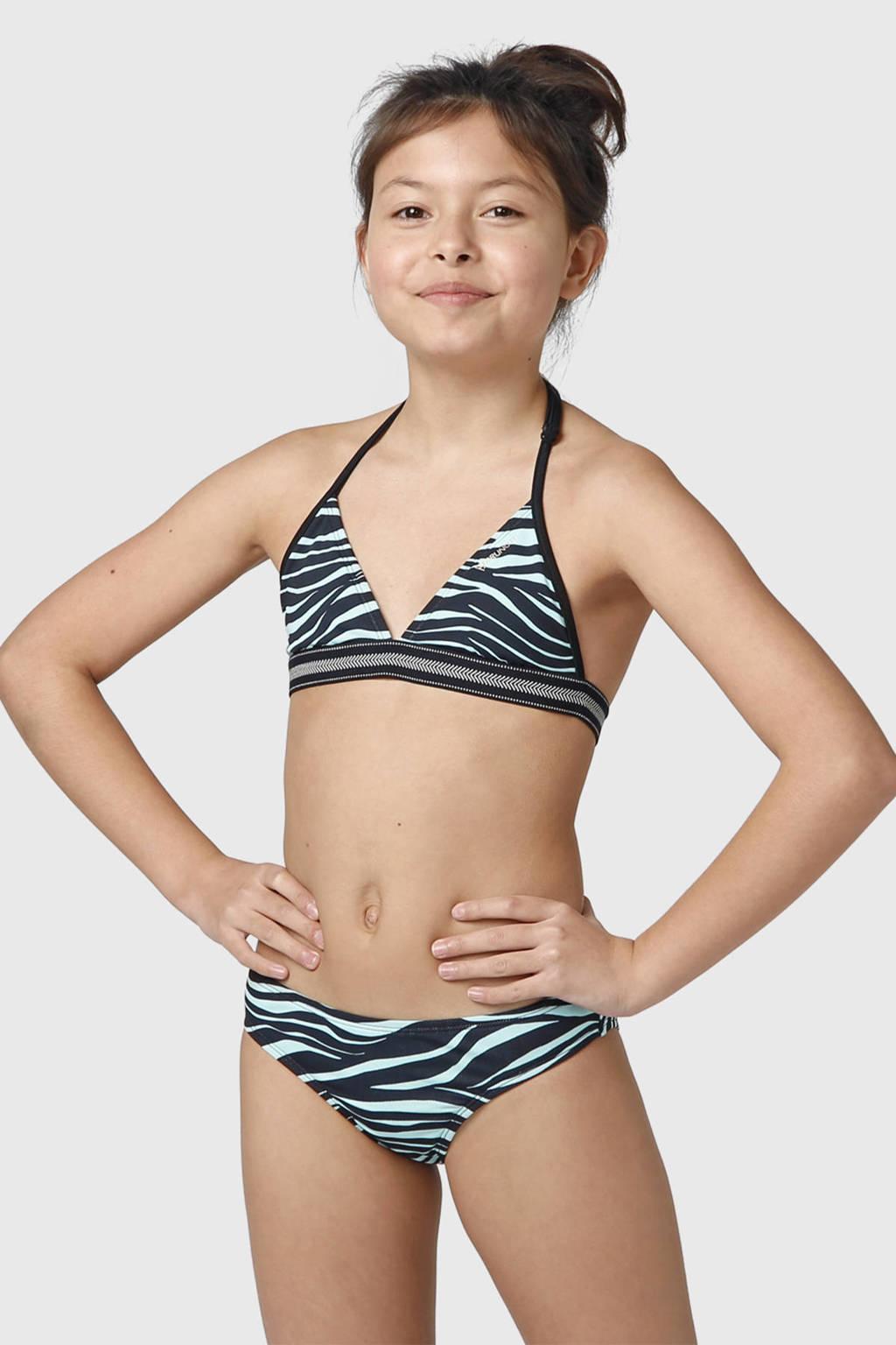Brunotti triangel bikini Noelle Zebra JR met zebraprint zwart/lichtblauw, Zwart/lichtblauw