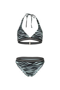 Brunotti halter bikini Xiu Zebra met zebraprint zwart/lichtblauw, Zwart/lichtblauw