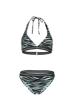 halter bikini Xiu Zebra met zebraprint zwart/lichtblauw