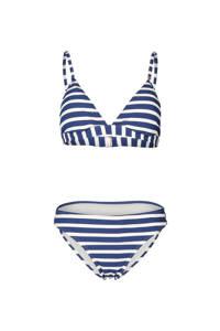 Brunotti gestreepte triangel bikini Alison blauw/wit, Blauw/wit