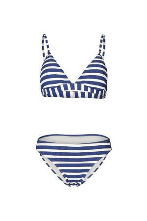 gestreepte triangel bikini Alison blauw/wit