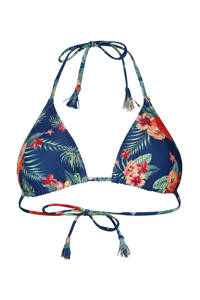 Brunotti gebloemde triangel bikinitop Noralee blauw/rood/oranje, Blauw/rood/oranje/geel/groen