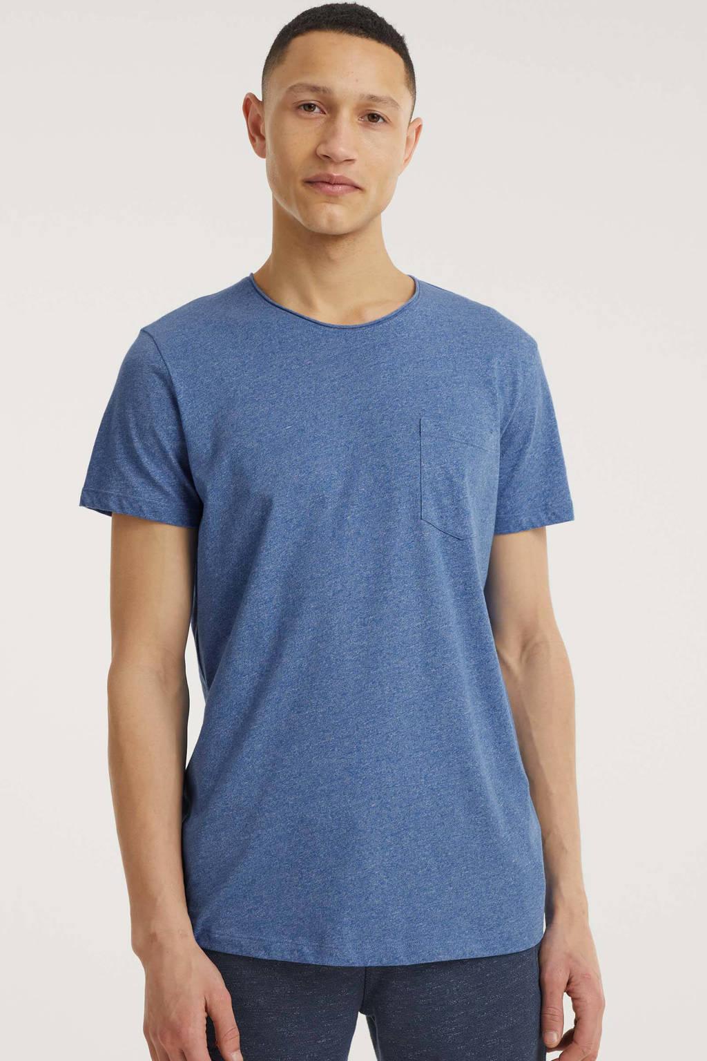 edc Men gemêleerd T-shirt met biologisch katoen blauw, Blauw
