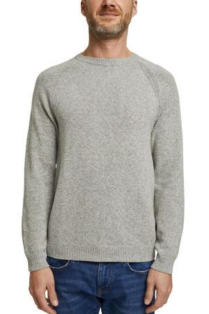 gemêleerde fijngebreide trui van biologisch katoen grijsgroen