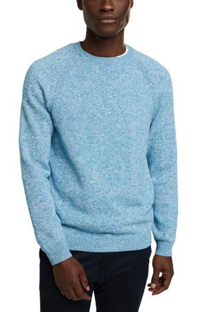 gemêleerde fijngebreide trui van biologisch katoen lichtblauw