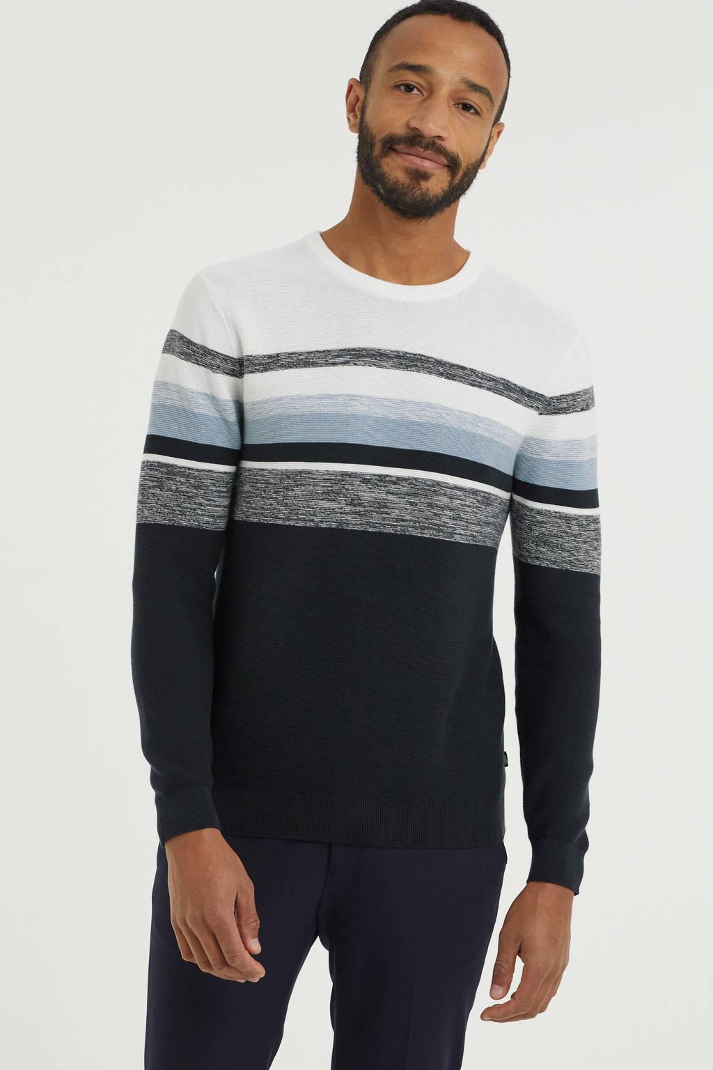 ESPRIT Men Casual trui van biologisch katoen donkerblauw/wit, Donkerblauw/wit