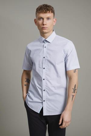 slim fit overhemd Trostol met all over print lichtblauw