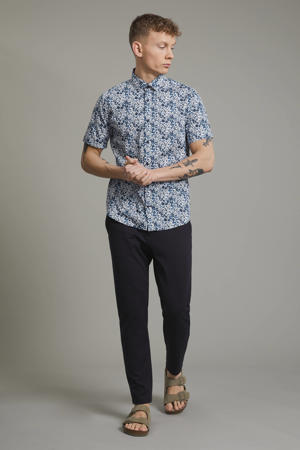 slim fit overhemd Trostol  met all over print blauw
